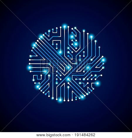 Futuristic cybernetic scheme vector motherboard blue illustration with neon lights. Circular gleam element with circuit board texture.