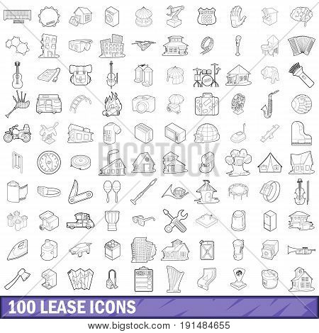 100 lease icons set in outline style for any design vector illustration