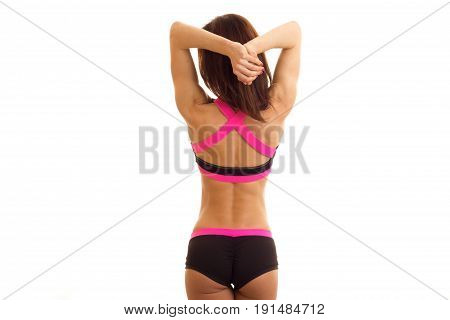 body beautiful sports girls with round buttocks and slim-waisted isolated on white background