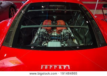 STUTTGART GERMANY - MARCH 02 2017: Engine compartment of the Ferrari 360 Challenge Stradale. Europe's greatest classic car exhibition