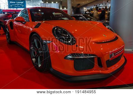 STUTTGART GERMANY - MARCH 02 2017: Sports car Porsche 991/911 GT3 RS 2017. Europe's greatest classic car exhibition