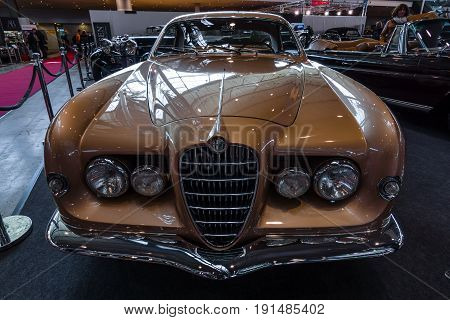 STUTTGART GERMANY - MARCH 02 2017: Sports car Alfa Romeo 1900C Sprint Supergioiello by Ghia 1953. Europe's greatest classic car exhibition