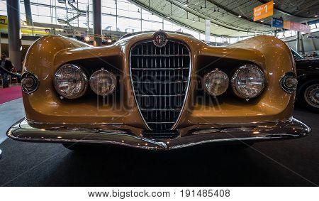 STUTTGART GERMANY - MARCH 02 2017: Sports car Alfa Romeo 1900C Sprint Supergioiello by Ghia 1953. Europe's greatest classic car exhibition