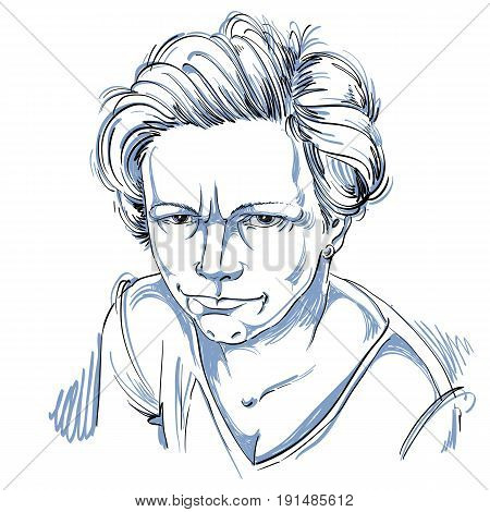 Vector art drawing portrait of angry girl isolated on white. Facial expressions people negative emotions.