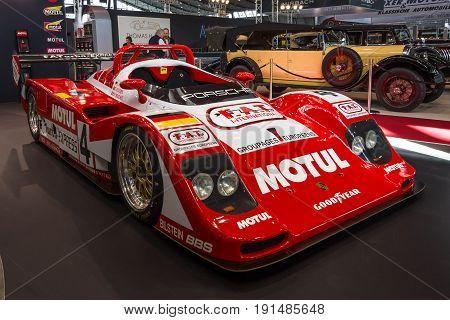 STUTTGART GERMANY - MARCH 02 2017: Racing car Kremer Porsche K8 Spyder 1995. Europe's greatest classic car exhibition