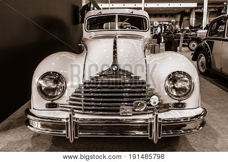 STUTTGART GERMANY - MARCH 02 2017: Vintage car Awtovelo EMW/BMW 340-2 1952. Toning. Sepia. Europe's greatest classic car exhibition