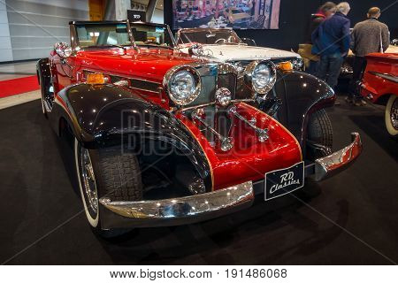 STUTTGART GERMANY - MARCH 02 2017: Luxury car Mercedes-Benz 500 Cabrio Replica 1934. Europe's greatest classic car exhibition