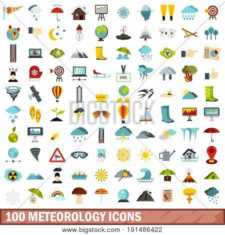 100 meteorology icons set in flat style for any design vector illustration