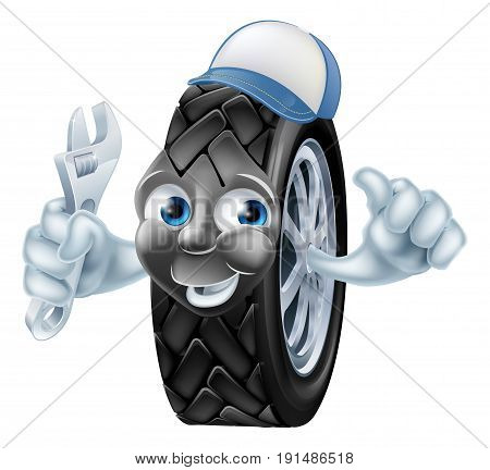 Happy tire mechanic cartoon character holding an adjustable wrench or spanner and giving thumbs up