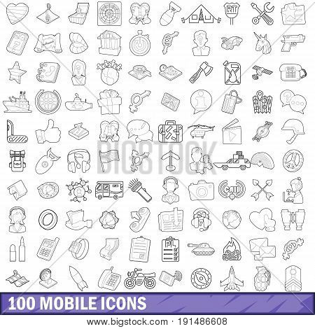 100 mobile icons set in outline style for any design vector illustration