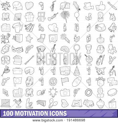 100 motivation icons set in outline style for any design vector illustration
