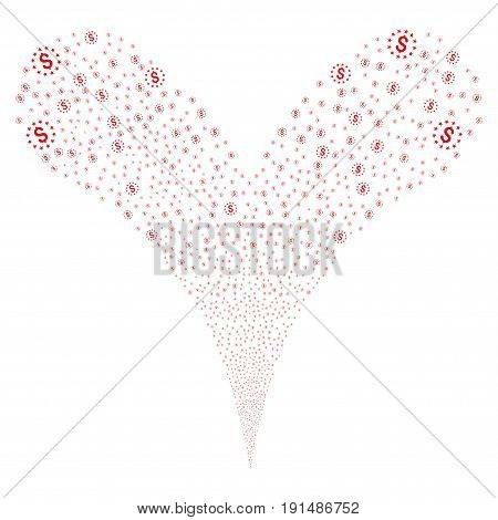 Dollar Stars explosive stream. Vector illustration style is flat red iconic dollar stars symbols on a white background. Object fountain combined from random pictograms.