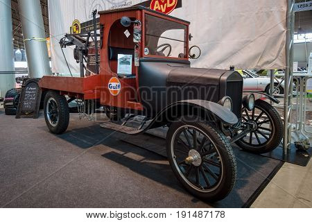 STUTTGART GERMANY - MARCH 02 2017: Automobile tow truck based on the Ford Model TT 1924. Europe's greatest classic car exhibition