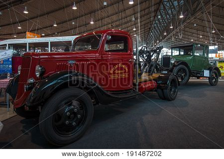 STUTTGART GERMANY - MARCH 02 2017: Automobile tow truck based on the Ford Model BB 1935. Europe's greatest classic car exhibition