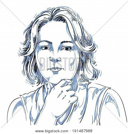 Portrait of delicate good-looking woman thinking about something black and white vector drawing. Emotional expressions idea image.