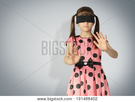 Child with blindfold blind concept. Copy space