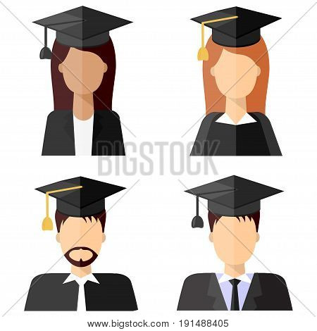 Graduation education people avatars in flat style. Different happy young graduate students icons with graduate cap isolated on white, set.
