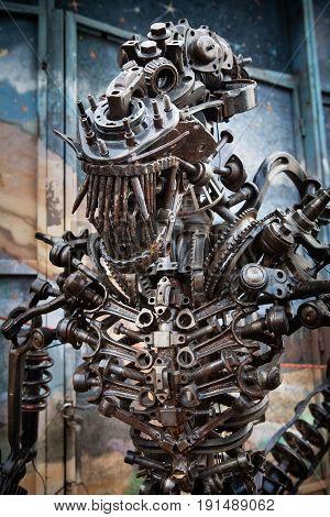 Dmitrovka - March 08: Sculpture of an alien from space in the steampunk style made by Kovanyaya Skarbnitsa on March 15 2017 Dmitrovka village Kiev region Ukraine