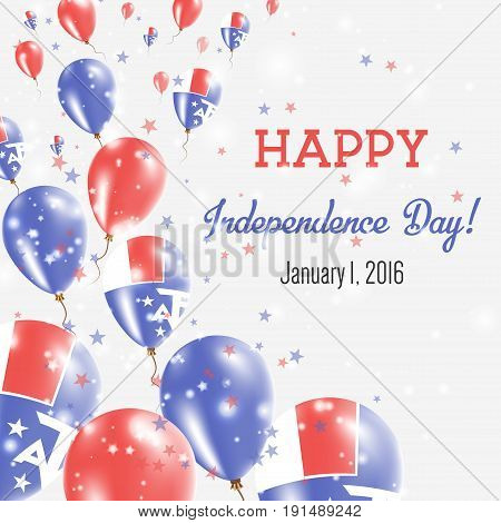 French Southern Territories Independence Day Greeting Card. Flying Balloons In French Southern Terri