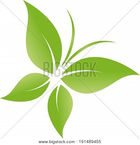 Butterfly from leaves in green, wellness and nature logo