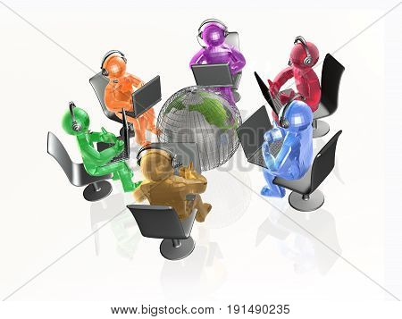 Communication - globe and color men and notebooks on background 3D illustration.