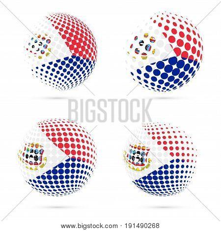 Sint Maarten Halftone Flag Set Patriotic Vector Design. 3D Halftone Sphere In Sint Maarten National