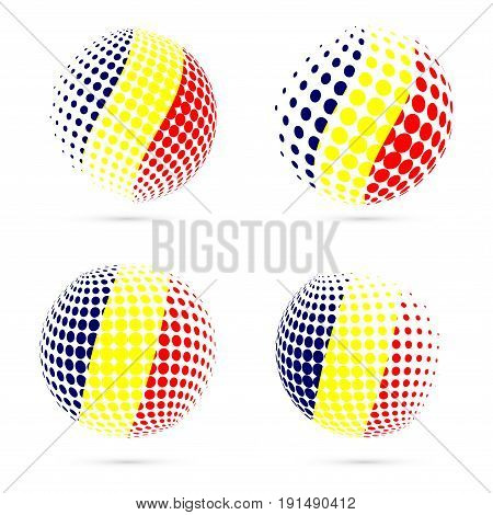 Chad Halftone Flag Set Patriotic Vector Design. 3D Halftone Sphere In Chad National Flag Colors Isol