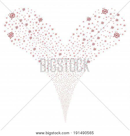 Galaxy explosive stream. Vector illustration style is flat red iconic galaxy symbols on a white background. Object fountain created from random symbols.