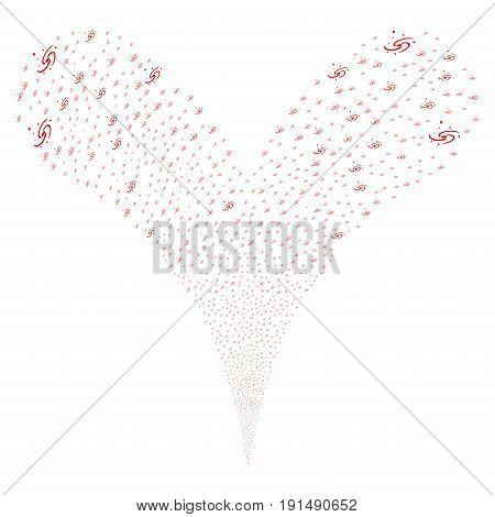 Galaxy source stream. Vector illustration style is flat red iconic galaxy symbols on a white background. Object fountain done from random pictographs.