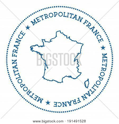 France Vector Map Sticker. Hipster And Retro Style Badge With France Map. Minimalistic Insignia With