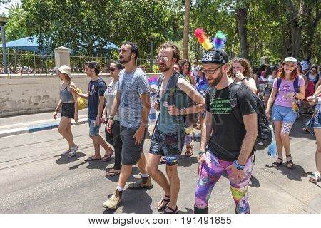 Tel Aviv, Israel - June 2017:  extravagant participants at annual gay pride parade