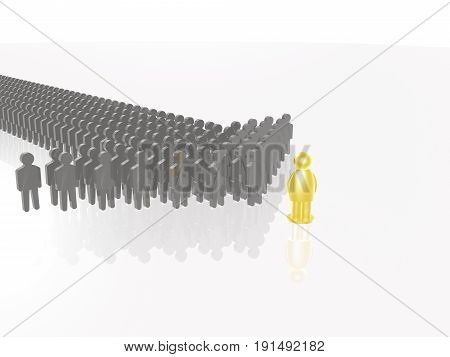 Yellow and grey men on white reflective background 3D illustration.