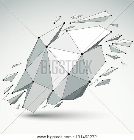 Abstract vector low poly wrecked object with black lines and dots connected. 3d origami futuristic form with lines mesh.