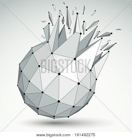 Abstract 3d faceted figure with connected black lines and dots. Vector low poly shattered design element with fragments and particles. Explosion effect.