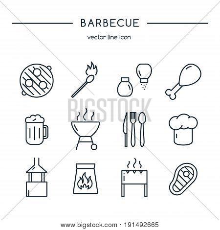 Barbeque icons line set. Design vector illustration.