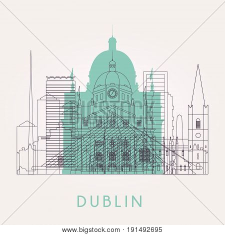 Outline Dublin skyline with landmarks. Vector illustration. Business travel and tourism concept with historic buildings. Image for presentation banner placard and web site.