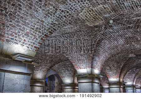 Many Old Brick Arches in Old Crypt