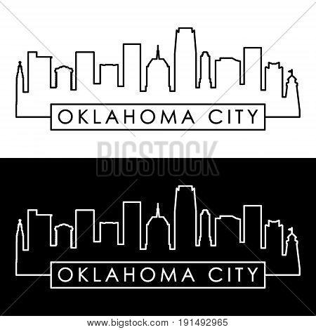 Oklahoma City skyline. Linear style. Editable vector file.