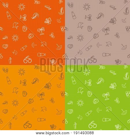 Seamless pattern with line icons on the theme of the sea and vacation. Vector illustration