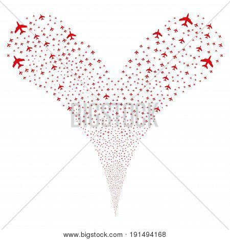 Jet Plane source stream. Vector illustration style is flat red iconic jet plane symbols on a white background. Object fountain done from random design elements.