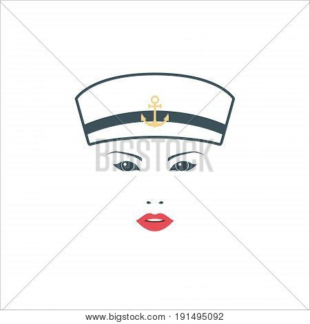 Girl sailor in white hat. Isolated on white background. Vector illustration for your design.