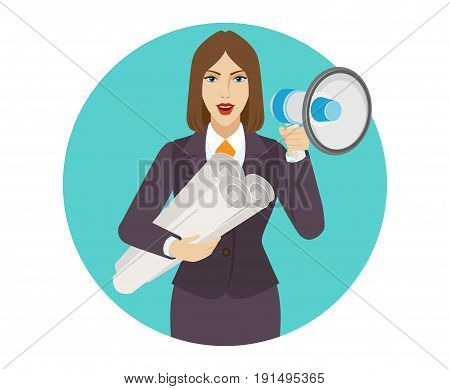 Businesswoman holding the project plans and loudspeaker. Portrait of businesswoman in a flat style. Vector illustration.