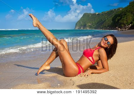 Cute Girl In Red Bikini Walking At Tropical Beach Bali