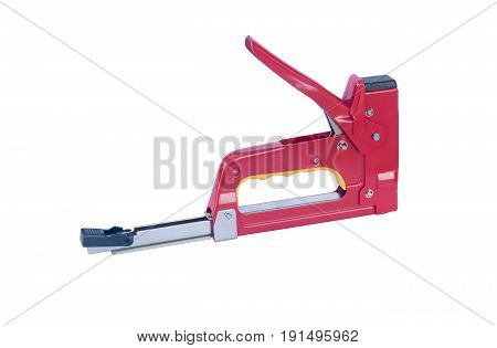 red metal stapler. Isolated on white background.
