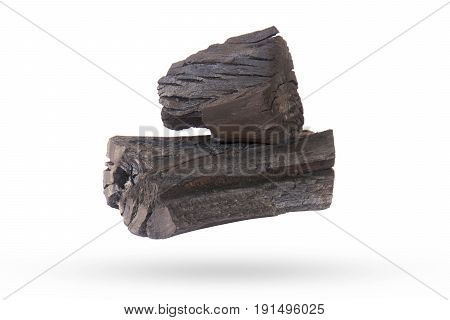 Natural wood charcoal Isolated on white .