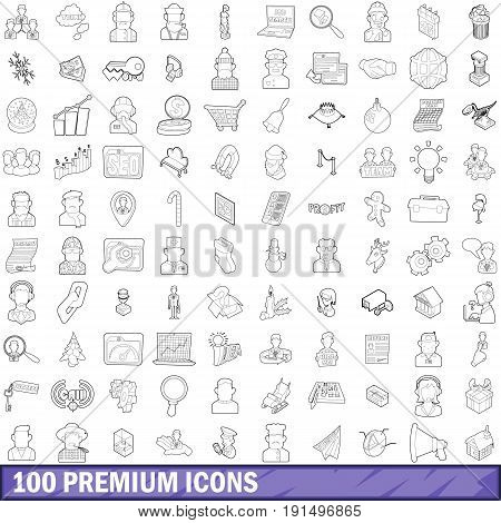 100 premium icons set in outline style for any design vector illustration