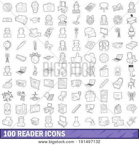 100 reader icons set in outline style for any design vector illustration