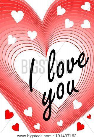 I love you inscription in heart blending shape. Declaration of love greeting beloved girl modern Valentine day theme
