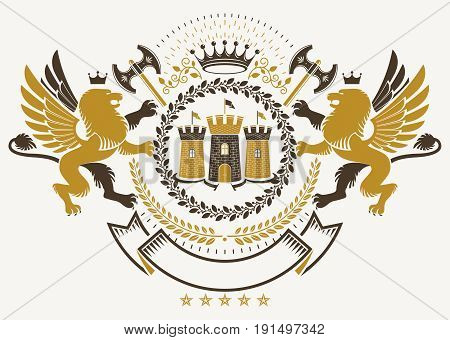 Vector heraldry emblem composed with decorative heraldic elements like gryphon medieval stronghold and hatchets.