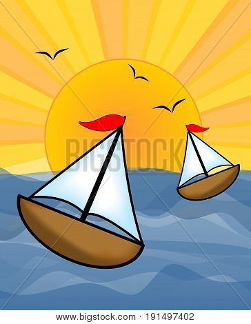Boats on the sunny sea useful as a design for the boats rental boats billboard offering boats trips or sport fishing